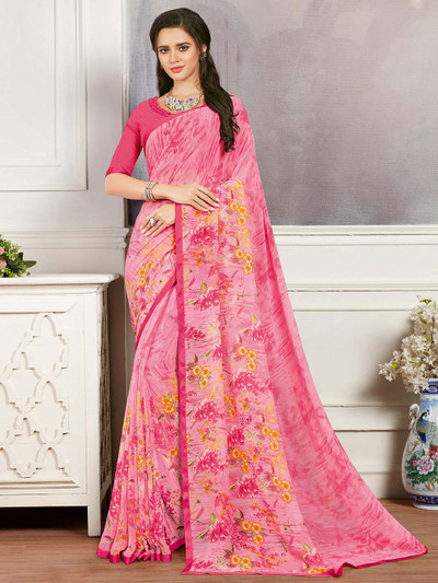 Pink printed saree in georgette for festives function