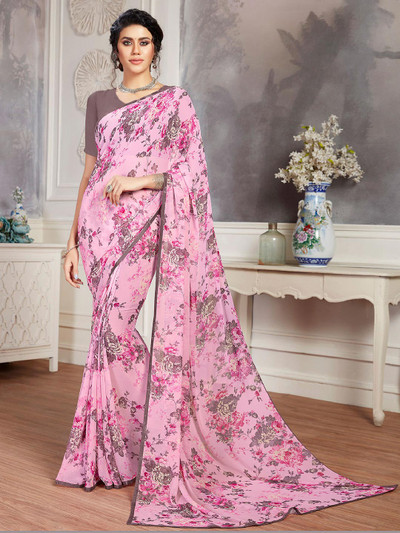 Pink printed saree in georgette for festives occasions