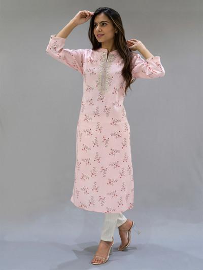 Pink punjabi style cotton printed festive wear pant suit