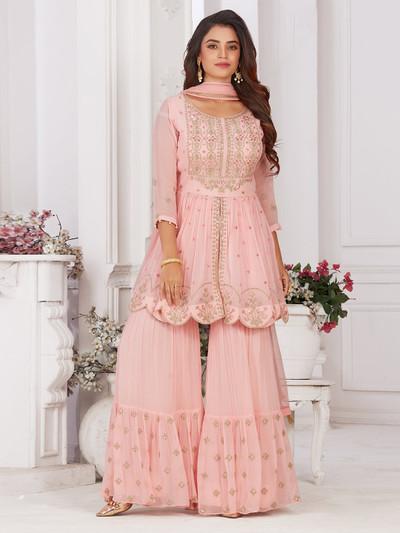 Pink punjabi style designer sharara suit in georgette