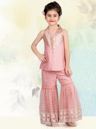 Pink raw silk girls sharara suit