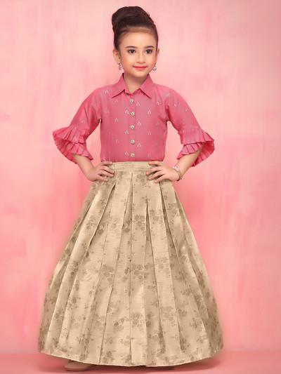 Pink raw silk party wear lehenga choli