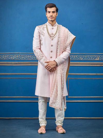 Pink raw silk sherwani for groom