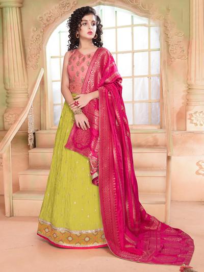 Pink raw silk wedding wear lehenga choli