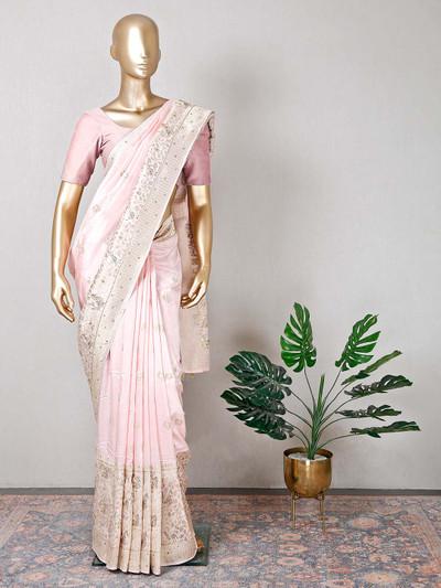Pink raw silk wedding wear saree for women