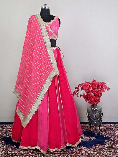 Pink reception wear lehenga choli for womens in georgette