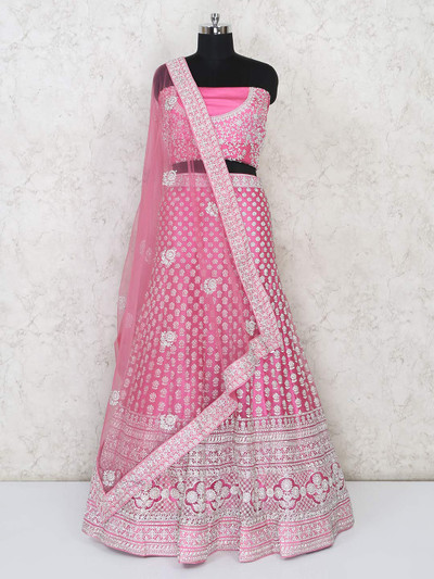 Pink semi sttiched bridal lehenga for wedding function
