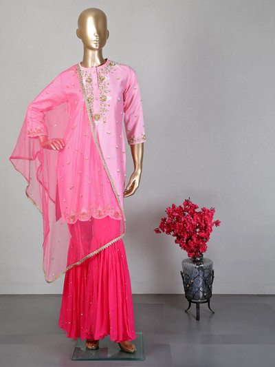 Pink sharara suit for wedding session