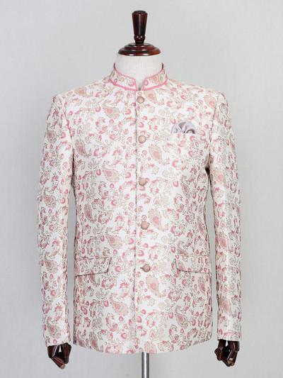 Pink silk fabric stand collar jodhpuri