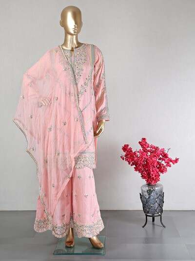 Pink silk party wear palazzo suit