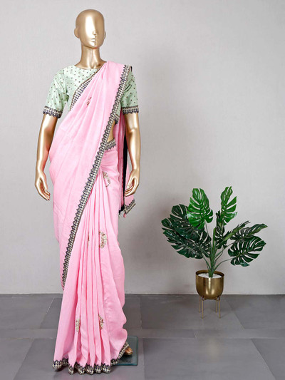 Pink silk saree for women with ready made blouse