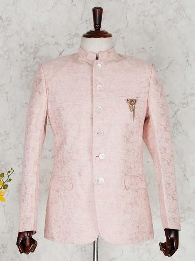 Pink silk solid party wear mens blazer