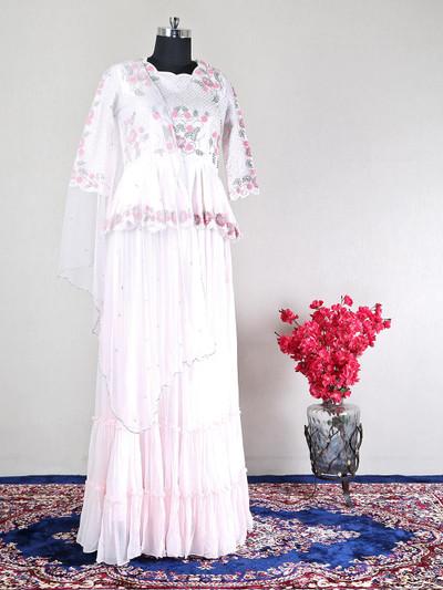 Pink silk wedding wear lehenga style salwar suit