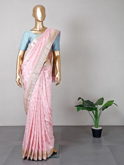 Pink silk wedding wear sari
