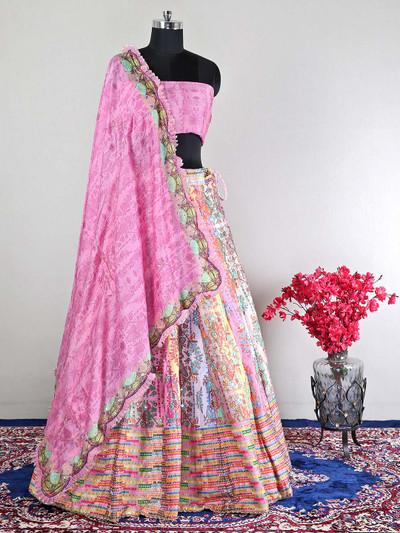 Pink silk wedding wear semi-stitched lehenga choli