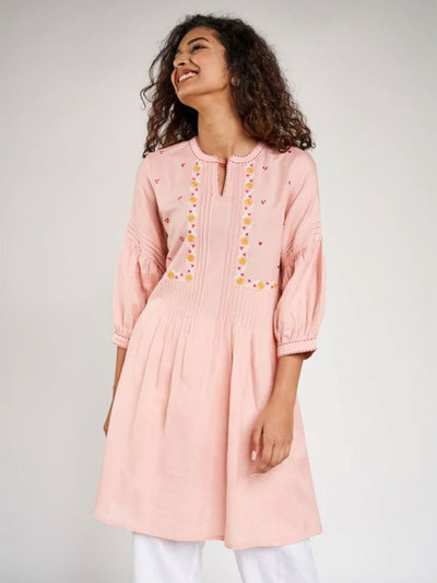 Pink Solid Embroidered A-Line Tunic
