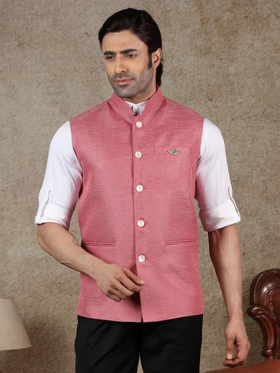 Pink solid raw silk classy waistcoat