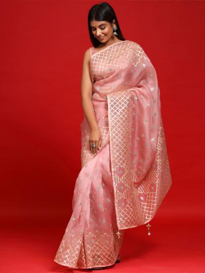 Pink Stylish Party wear Organza Silk Saree