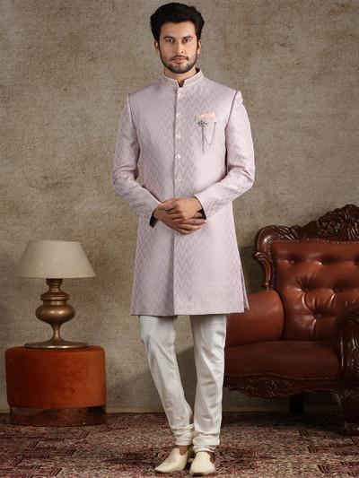 Pink terry rayon wedding wear textured indo western