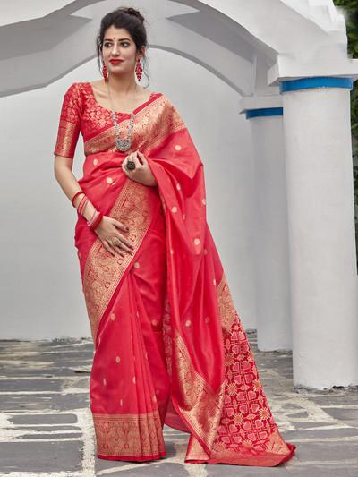 Pink traditional semi silk saree for wedding