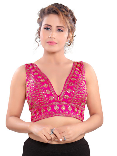 Pink v neckline readymade blouse with sequin work