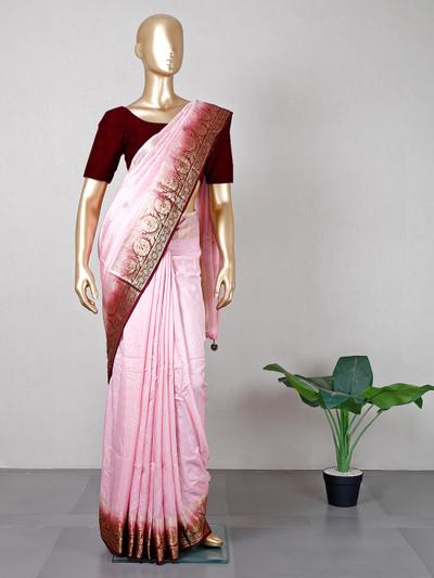 Pink wedding functions silk saree