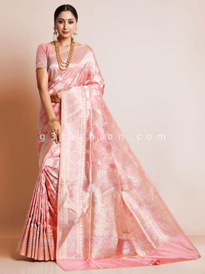 Pink wedding saree design in banarasi silk
