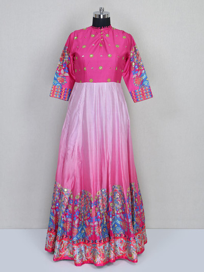 Pink wedding wear floor length gown