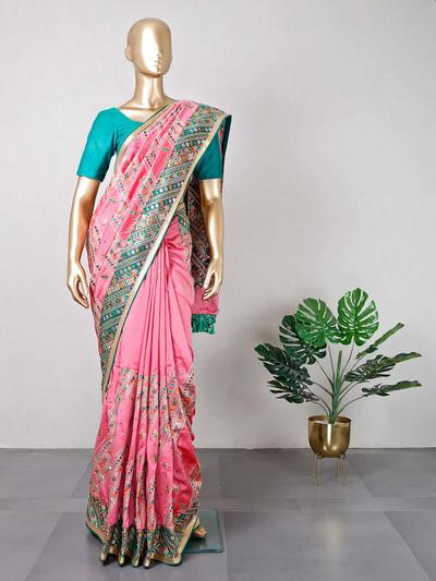 Pink wedding wear silk saree for women