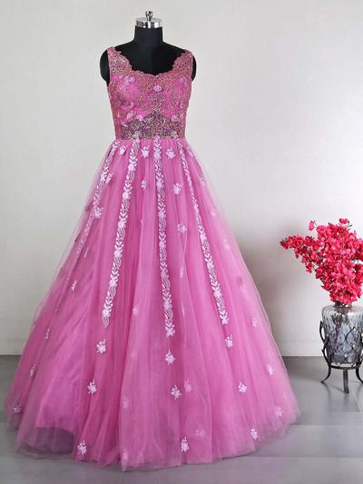 Pink wedding wear womens gown