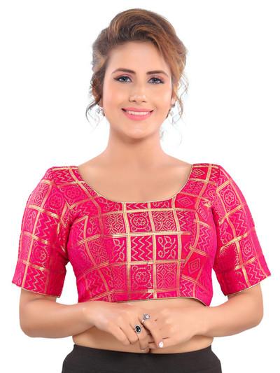 Pink zari weaved readymade blouse