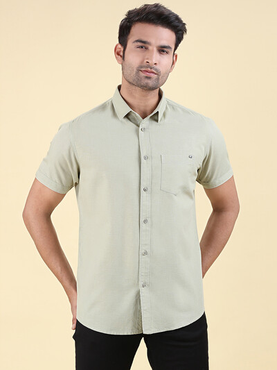 Pioneer pista green patch pocket solid shirt