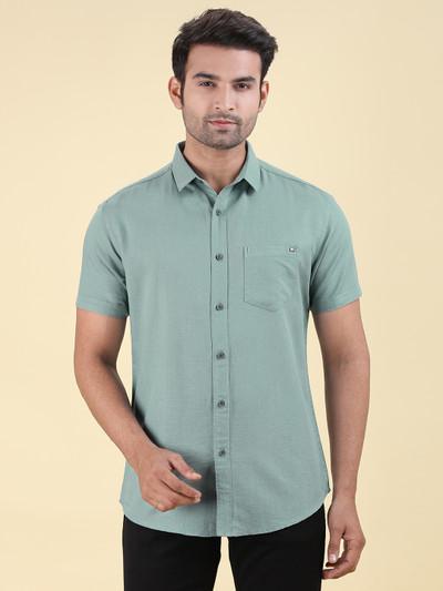 Pioneer slim collar cotton sea green shirt