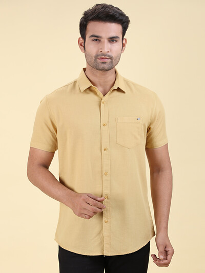 Pioneer slim collar mustard yellow solid shirt
