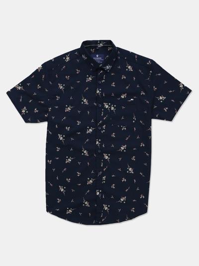 Pioneer slim collar printed navy shirt