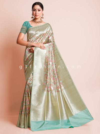 Pista green banarasi silk sari for wedding