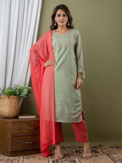 Pista green cotton punjabi style festive wear pant suit