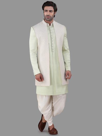 pista green cotton silk mens indo western in cotton silk