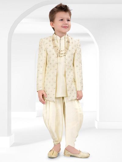Pista green cotton silk wedding wear indo western