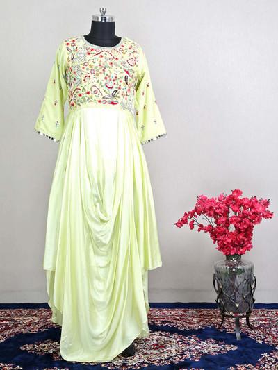 Pista green designer raw silk salwar kameez