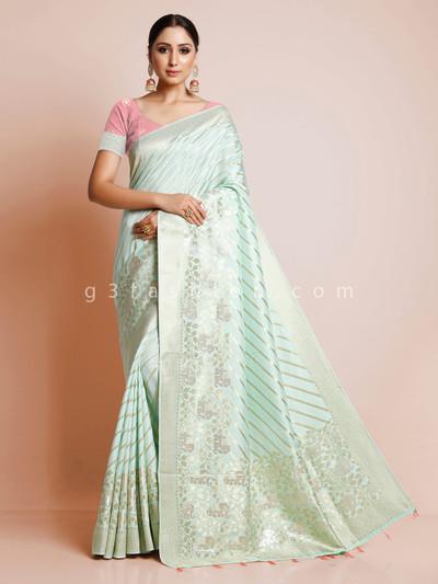 Pista green dola silk saree for wedding events