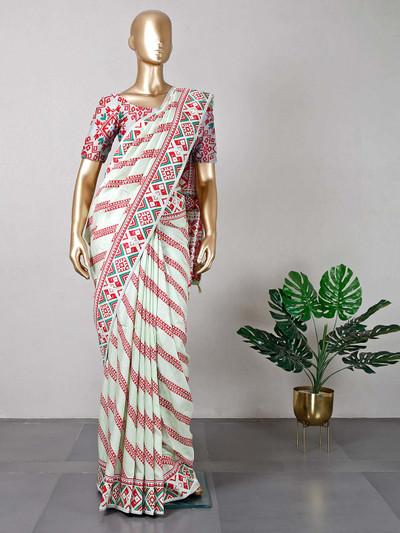 Pista green festive wear cotton saree