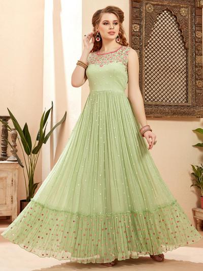 Pista green floor length anarkali suit for wedding ceremony