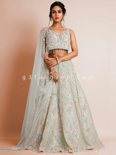 Pista green georgette designer wedding lehenga choli
