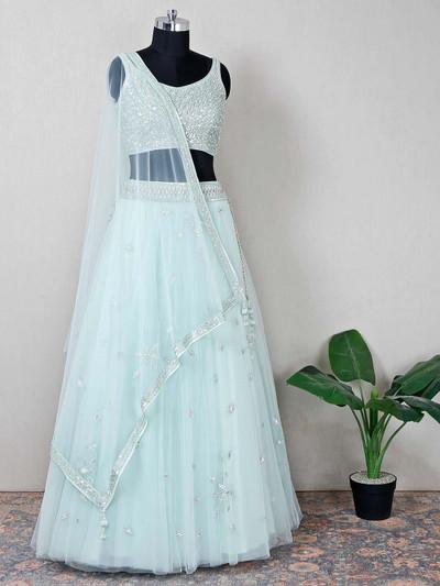Pista green net wedding occasions lehenga choli
