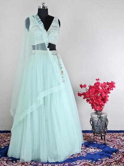 Pista green net wedding wear lehenga choli