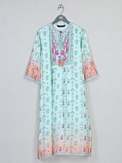 Pista green printed casual wear cotton kurti