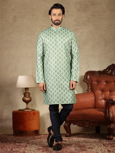 Pista green printed cotton festive wear kurta suit