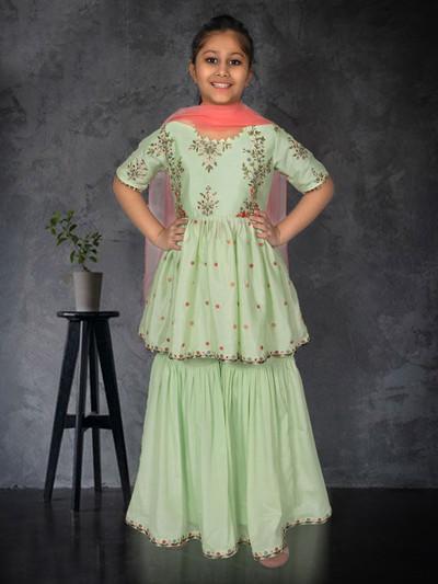 Pista green punjabi sharara suit in cotton silk for girls