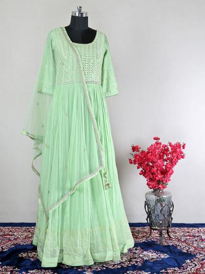 Pista green raw silk festive wear anarkali suit